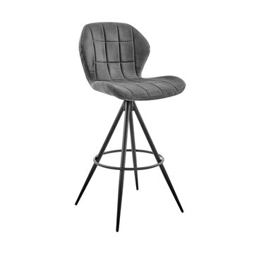 """26"""" Catalina Counter Stool with Fabric Finish Black/Charcoal - Armen Living"""