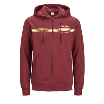 Men's Autumn Long Sleeved Zip Sweat Hoodie With Chest Details