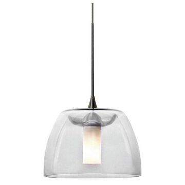 Besa Lighting 1XT-SPURCL-LED Spur Pendant, Satin Nickel