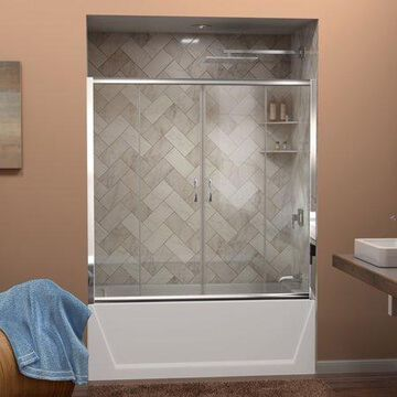 DreamLine Visions 56-60 in. W x 58 in. H Semi-Frameless Sliding Tub Door in Chrome