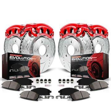 Power Stop Front and Rear Z23 Evolution Brake Pad and Rotor Kit with Red Powder Coated Calipers KC2085B