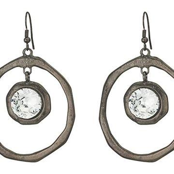 Kenneth Jay Lane Large Hoop Drop Fishhook Earrings (Polished Gunmetal/Crystal) Earring