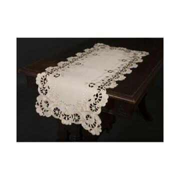 """Xia Home Fashions Scalloped Lace Embroidered Cutwork Table Runner, 15"""" x 53"""""""