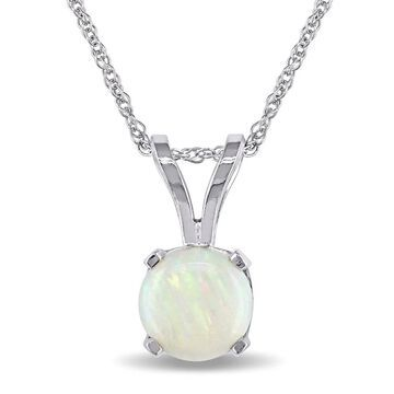 Miadora 14k White Gold Opal Solitaire Necklace