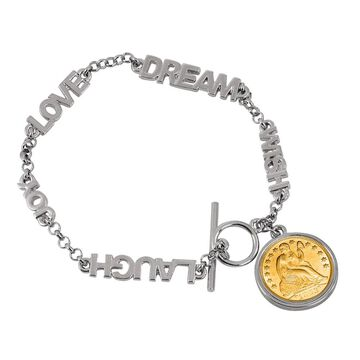 American Coin Treasures Gold-layered Seated Liberty Silver Dime Inspirational Coin Bracelet (White/Yellow - 8 Inch)