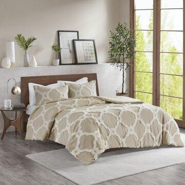 Home Essence Leena 3 Piece Tufted Cotton Duvet Cover Set, Full/Queen, Taupe