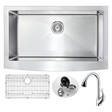 ANZZI Elysian Farmhouse 36 In. Kitchen Sink w/ Accent Faucet In Polish