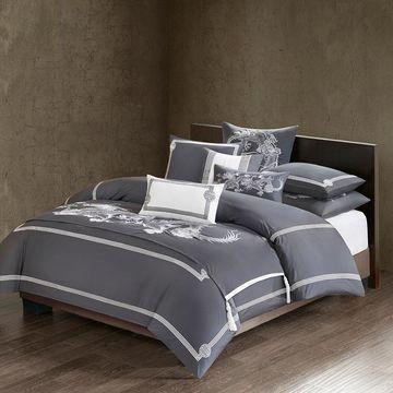 Natori - Sterling Dragon Cotton Sateen Duvet Cover - Grey - Queen