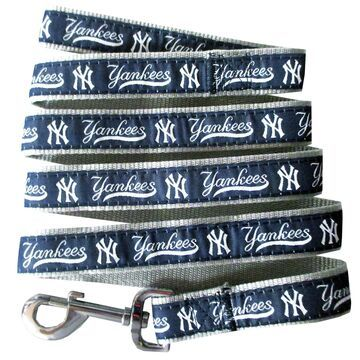 Pets First New York Yankees Leash, Small, Blue / White