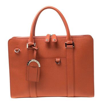 Bvlgari Orange Grain Leather Man Briefcase Bag