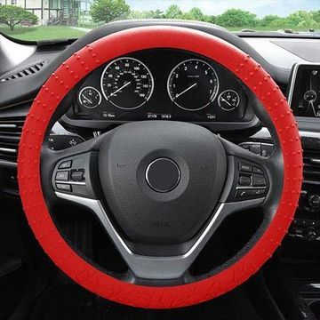 FH Group Universal Fit Red Textured Silicone Steering Wheel Cover