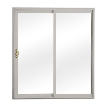 ReliaBilt Clear Glass Gray Vinyl Universal Reversible Double Door Sliding Patio Door (Common: 60-in x 80-in; Actual: 58.75-in x 79.5-in)