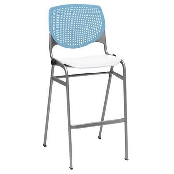 KFI KOOL Armless Stack Barstool with Back, White Seat