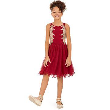 Big Girls Embellished Appliqué Dress