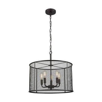 Williamsport 5-Light Chandelier in in Oil Rubbed Bronze with Black Metal Shade