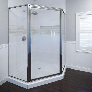Basco Deluxe 57.5-in to 57.5-in W Framed Hinged Chrome Shower Door