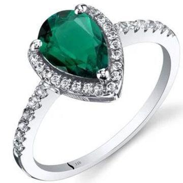 Oravo 14k White Gold Pear-cut Gemstone Open Halo Ring (Green - 7 - Emerald)