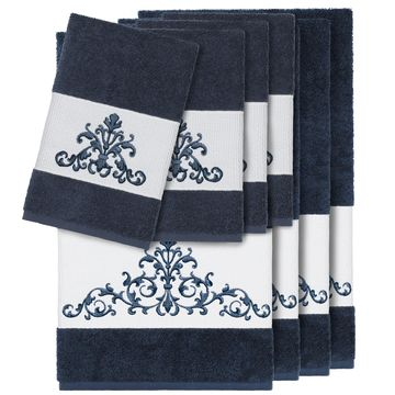 Authentic Hotel and Spa Midnight Blue Turkish Cotton Scrollwork Embroidered 8 piece Towel Set