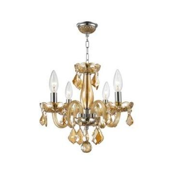 Worldwide Lighting Clarion 4-Light Chrome Finish and Amber Crystal Chandelier