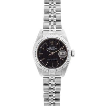 Pre-owned Rolex Women's Model 69174 Datejust 26mm Black Tapestry Dial Watch