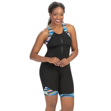 Women's Dolfin Aquashape Striped Racerback One-Piece Aquatard Swimsuit, Size: 8, Wanderlust