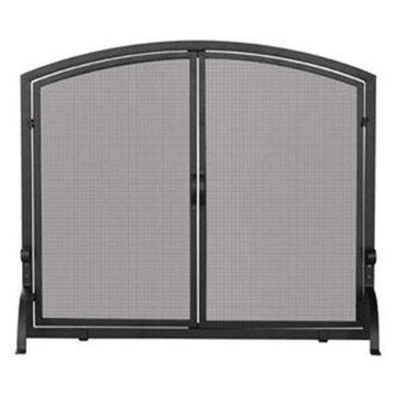 Uniflame Single Panel Black Wrought Iron Screen With Doors, Large
