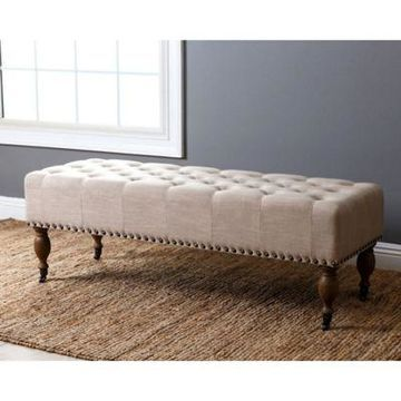 Abbyson Living French Vintage Bench in Wheat