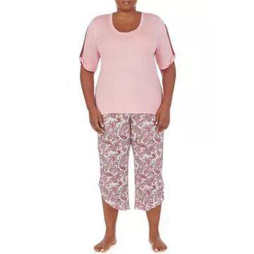Ellen Tracy Women's Plus Size Short Sleeve Top And Paisley Capris Set - -
