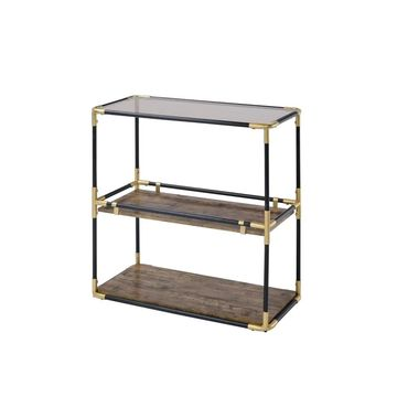 ACME FURNITURE Heleris Glass Industrial Console Table in Gold   90319