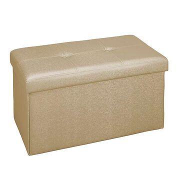 Simplify Faux Leather Double Folding Storage Ottoman, Gold