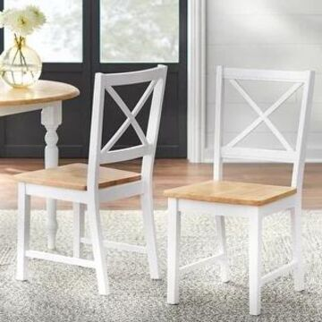 Simple Living Solid Wood Crossback Dining Chairs (Set of 2) (White/Natural)