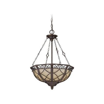 Jeremiah-Lighting Evangeline 3-Light Pendant, Peruvian Bronze