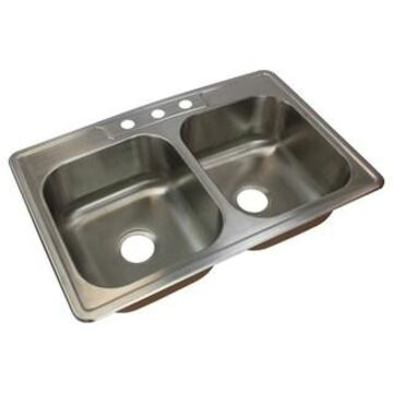 Transolid Classic 33-in 18 Gauge Drop-in Double Bowl Kitchen Sink (3)