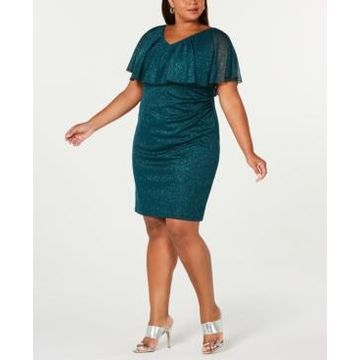 Connected Plus Size Metallic Popover Dress