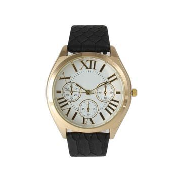 Olivia Pratt Womens Decorative Chronograph Dial Black Croc-Embossed Leather Watch 26328