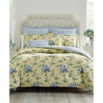 Laura Ashley Cassidy Pastel Yellow Comforter Set, Full/Queen Bedding