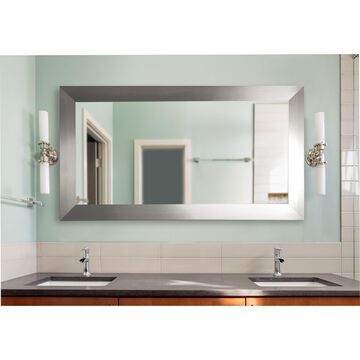 American Made Extra Large Silver Wide Floor/ Vanity Mirror