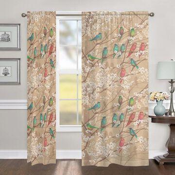 Laural Home Birds in Bloom 84 Inch Room Darkening Curtain Panel - 84l