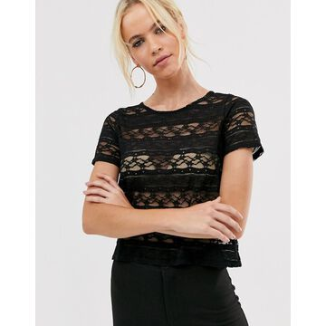 Vesper flute sleeve lace top-Black