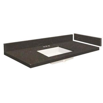 Transolid 34-in Black Carrara Quartz Single Sink Bathroom Vanity Top | VT34X22-1KU-6B-4