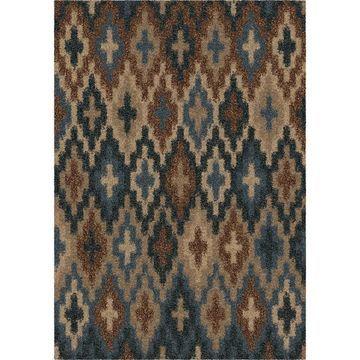 Orian Rugs Majestic Shag Lorcan 8 x 11 Blue Indoor Geometric Farmhouse/Cottage Area Rug