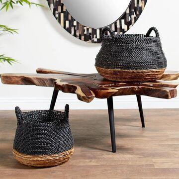 Studio 350 Large, Round Gray & Natural Color-Blocked Banana Leaf Storage Baskets (Set of)