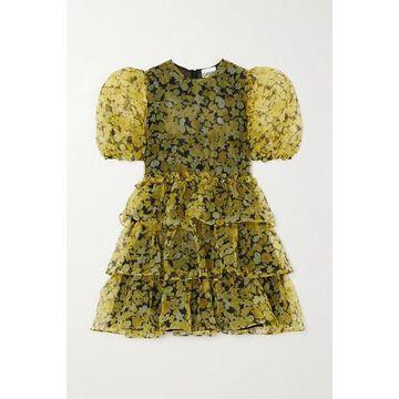 GANNI - Ruffled Tiered Floral-print Organza Mini Dress - Yellow