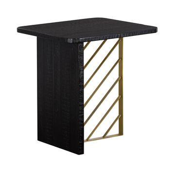 Monaco Side Table Black Wood/Antiqued Brass - Armen Living