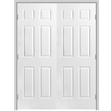 Masonite Traditional 48-in x 80-in (Primed) 6-Panel Hollow Core Primed Molded Composite Universal Inswing/Outswing Double Prehung Interior Door