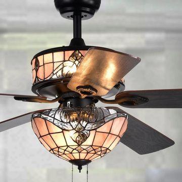 Orla 6-Light Baroque Tiffany 5-Blade 52-Inch Black Ceiling Fan (6-Light Baroque Tiffany 5-Blade 52-Inch Fan)