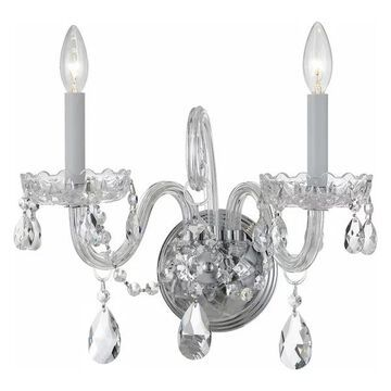 Crystorama 1032-CH-CL-SAQ Traditional Crystal - Two Light Wall Sconce