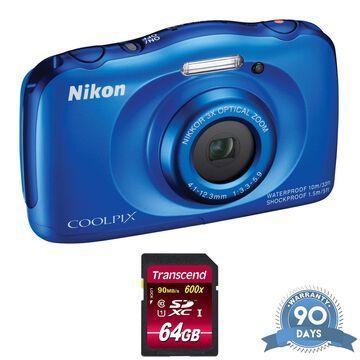 Nikon COOLPIX S33 Digital Camera (Blue) - with Memory Card - RENEWED