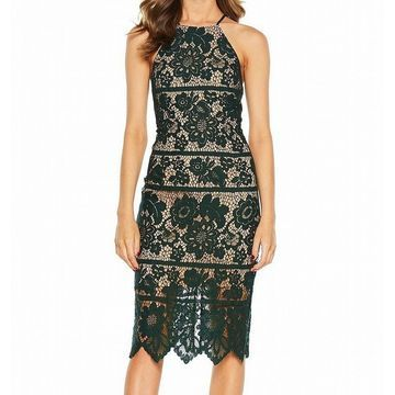 Bardot Womens Dress Deep Green Size 4 Sheath Illusion Floral-Lace