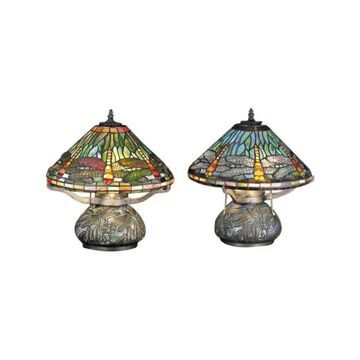 Meyda Tiffany 26681 Dragonfly Tiffany Three Light Table Lamp - Tiffany
